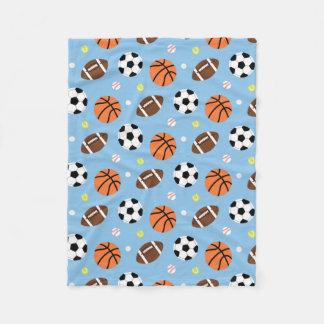 Balls Sports Themed Pattern For Boys Fleece Blanket