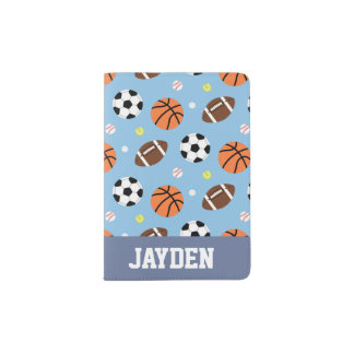 Balls Sports Themed Pattern For Boys Passport Holder