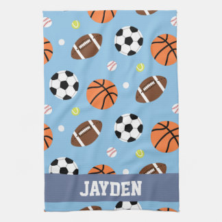 Balls Sports Themed Pattern For Boys Tea Towel