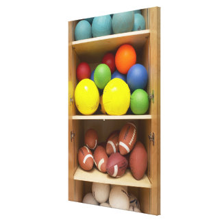 Balls stored in cabinet canvas print