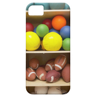Balls stored in cabinet case for the iPhone 5