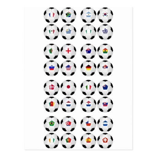 Balls With Flags Postcards