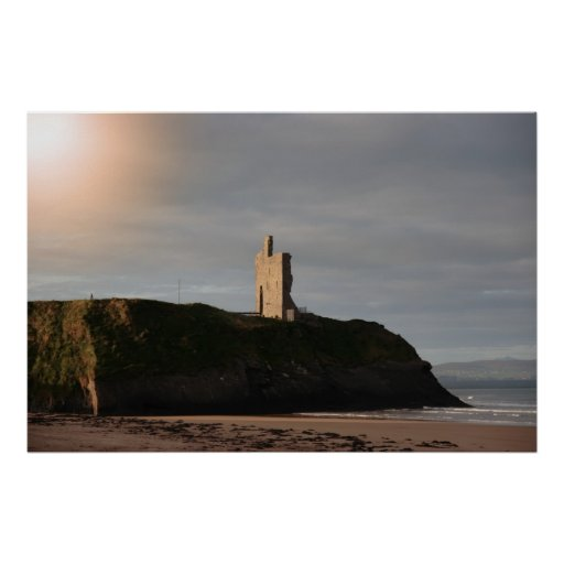 ballybunion beach castle and cliffs poster