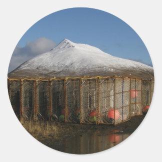 Ballyhoo Mountain Behind Crab Pots Stickers