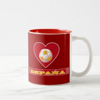 Balón de fútbol en corazón y bufanda de ESPAÑA Tazas De Café