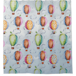 Baloon and Birds Shower Curtain