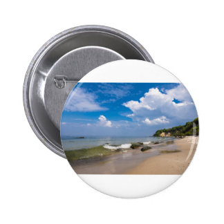 Baltic Sea coast with wave and blue sky 6 Cm Round Badge