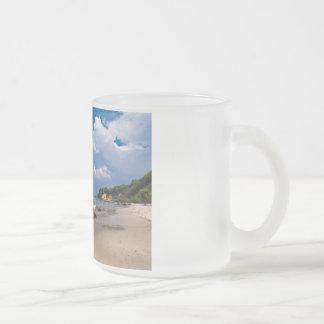 Baltic Sea coast with wave and blue sky Frosted Glass Mug
