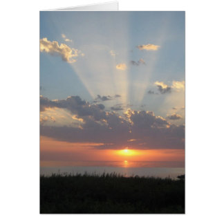 Baltic Sea Sunset with Rays of Light Greeting Card