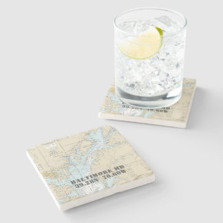 Baltimore Baltimore County MD Authentic Chart Stone Coaster