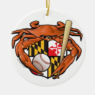 Baltimore Baseball Sports Crab Christmas Ornament