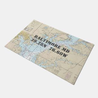 Baltimore Chesapeake Latitude Longitude Nautical Doormat