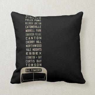 Baltimore Flxible Bus Scroll Throw Pillow (Black)