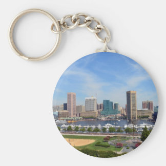 Baltimore Inner Harbor Basic Round Button Key Ring