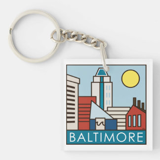Baltimore Inner Harbor Double-Sided Square Acrylic Key Ring
