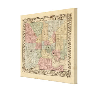 Baltimore Map by Mitchell Canvas Print