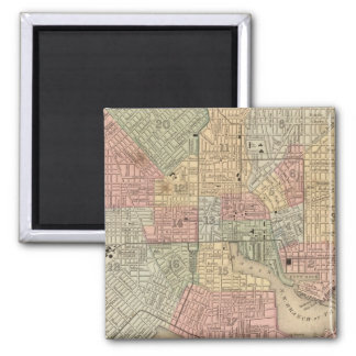 Baltimore Map by Mitchell Square Magnet