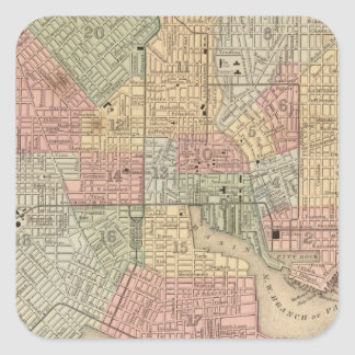 Baltimore Map by Mitchell Square Sticker