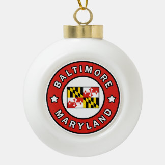 Baltimore Maryland Ceramic Ball Christmas Ornament