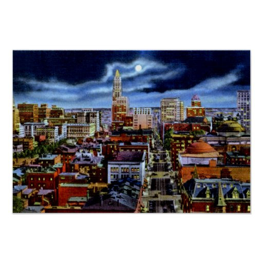 Baltimore Maryland City Skyline at Night Poster