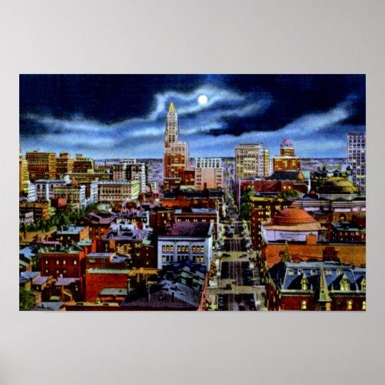 Baltimore Maryland City Skyline at Night Poster
