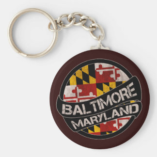 Baltimore Maryland flag grunge keychain