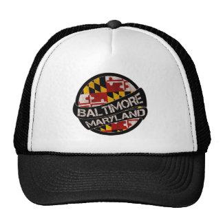 Baltimore Maryland flag grunge trucker hat