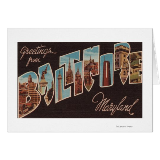 Baltimore, Maryland - Large Letter Scenes 3 Card