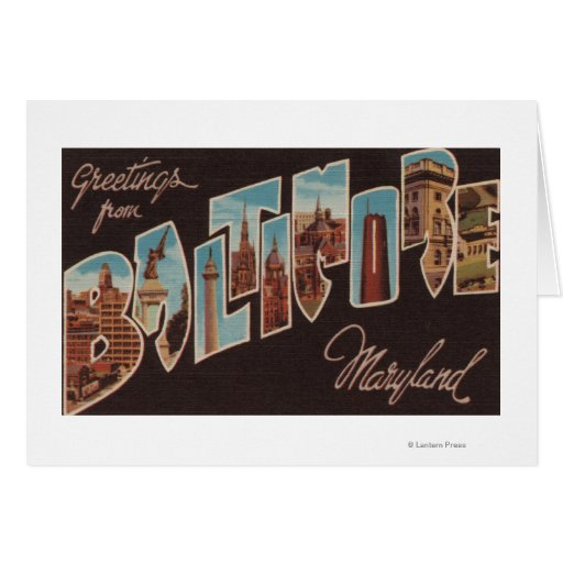 Baltimore, Maryland - Large Letter Scenes 3 Greeting Card