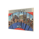 Baltimore, Maryland - Large Letter Scenes 3 Stretched Canvas Print