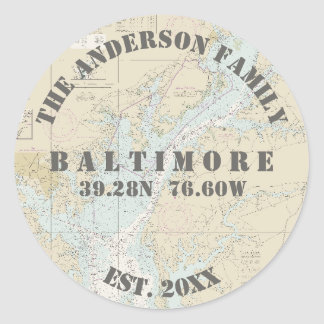 Baltimore Maryland Nautical Envelope Seals Boaters Round Sticker