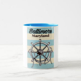 Baltimore Maryland vintage nautical travel poster Two-Tone Coffee Mug