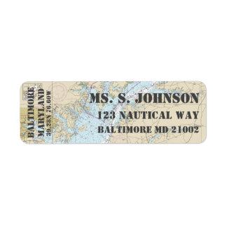 Baltimore MD Home Port Nautical Navigation Chart Return Address Label