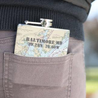 Baltimore MD Latitude Longitude Nautical Hip Flask