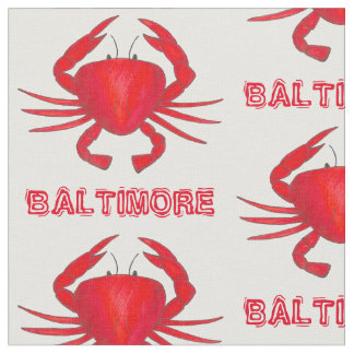 Baltimore MD Maryland Red Crab Crabs Seafood Fabric