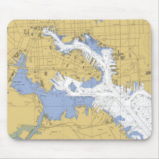 Baltimore, MD Nautical Harbor Chart Mousepad