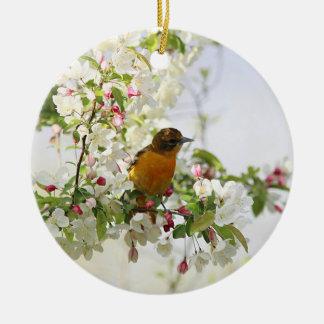 Baltimore Oriole and spring blossoms Round Ceramic Decoration