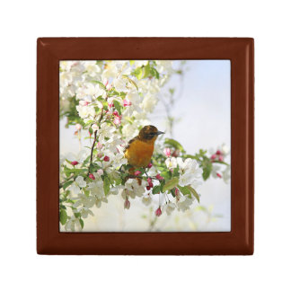 Baltimore Oriole and spring blossoms Small Square Gift Box