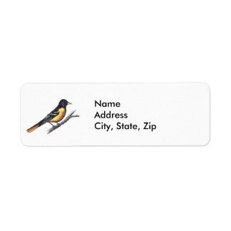 Baltimore Oriole Return Address Label