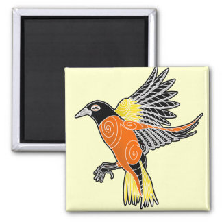 baltimore oriole square magnet