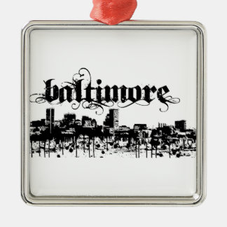 Baltimore Put on for your city Silver-Colored Square Decoration