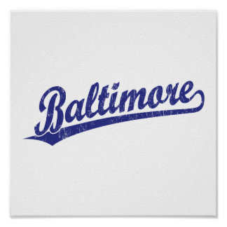 Baltimore script logo in blue poster