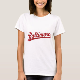 Baltimore script logo in red T-Shirt