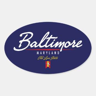 Baltimore Script Oval Sticker