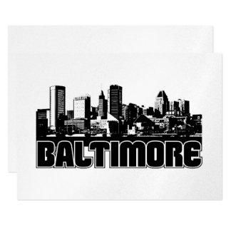 Baltimore Skyline 13 Cm X 18 Cm Invitation Card
