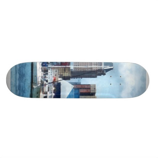 Baltimore Skyline and Harbor Skateboard Deck