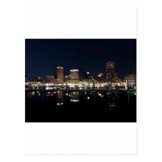 Baltimore Skyline at Night Postcard
