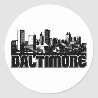 Baltimore Skyline Classic Round Sticker