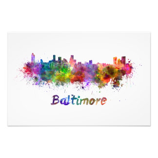 Baltimore skyline in watercolor photographic print