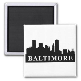 Baltimore Skyline Square Magnet